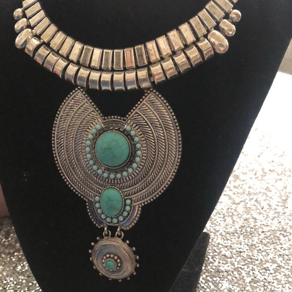 Turquoise and silver necklace, What a Beauty!!